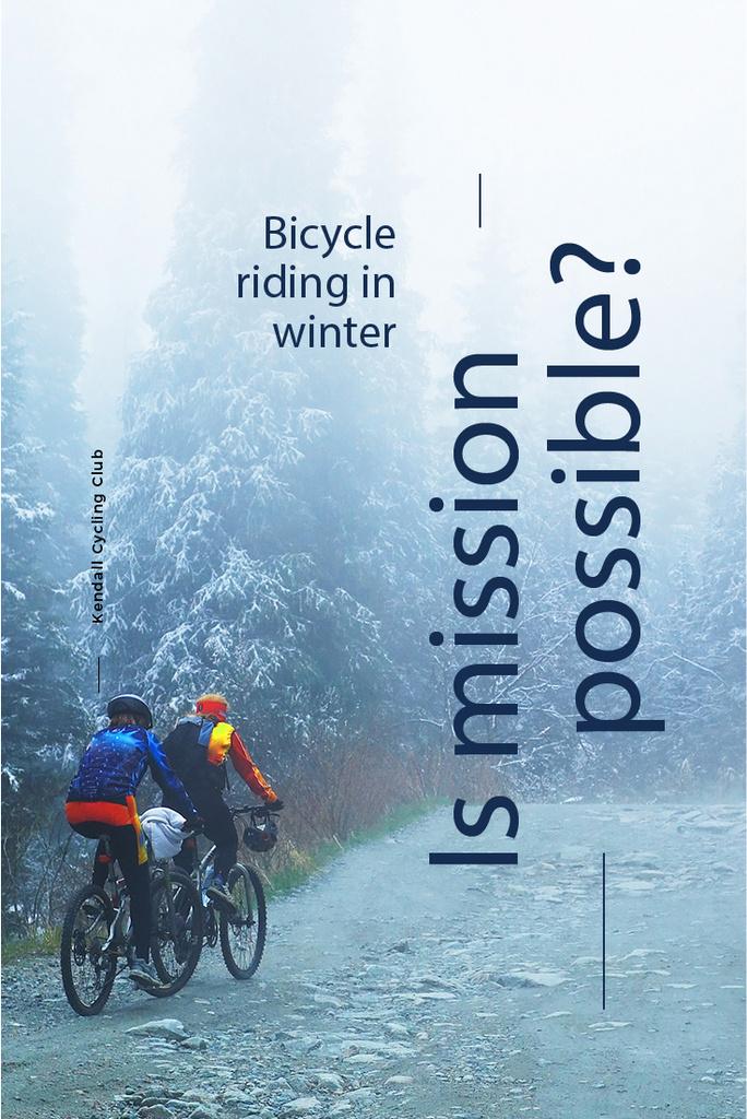 Bicycle riding in winter banner — Crea un design