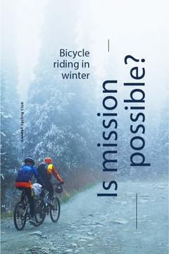 Bicycle riding in winter banner
