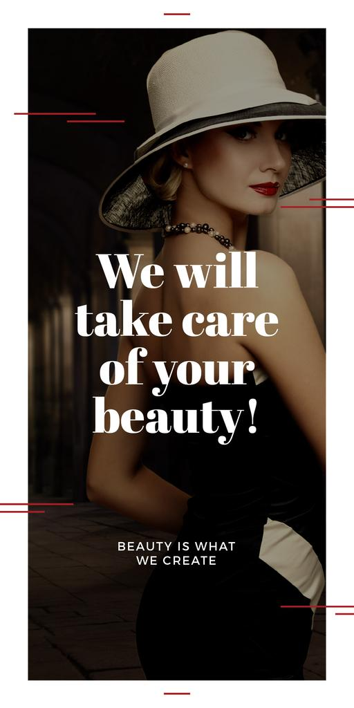 Beauty Services Ad with Fashionable Woman Graphic – шаблон для дизайну