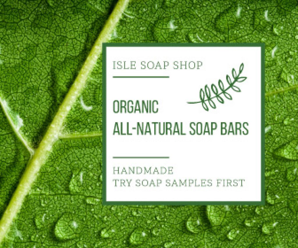Organic Cosmetics Advertisement Drops on Green Leaf Large Rectangle Design Template