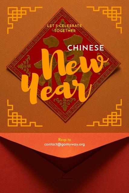 Plantilla de diseño de Chinese New Year Greeting Red Envelope Tumblr