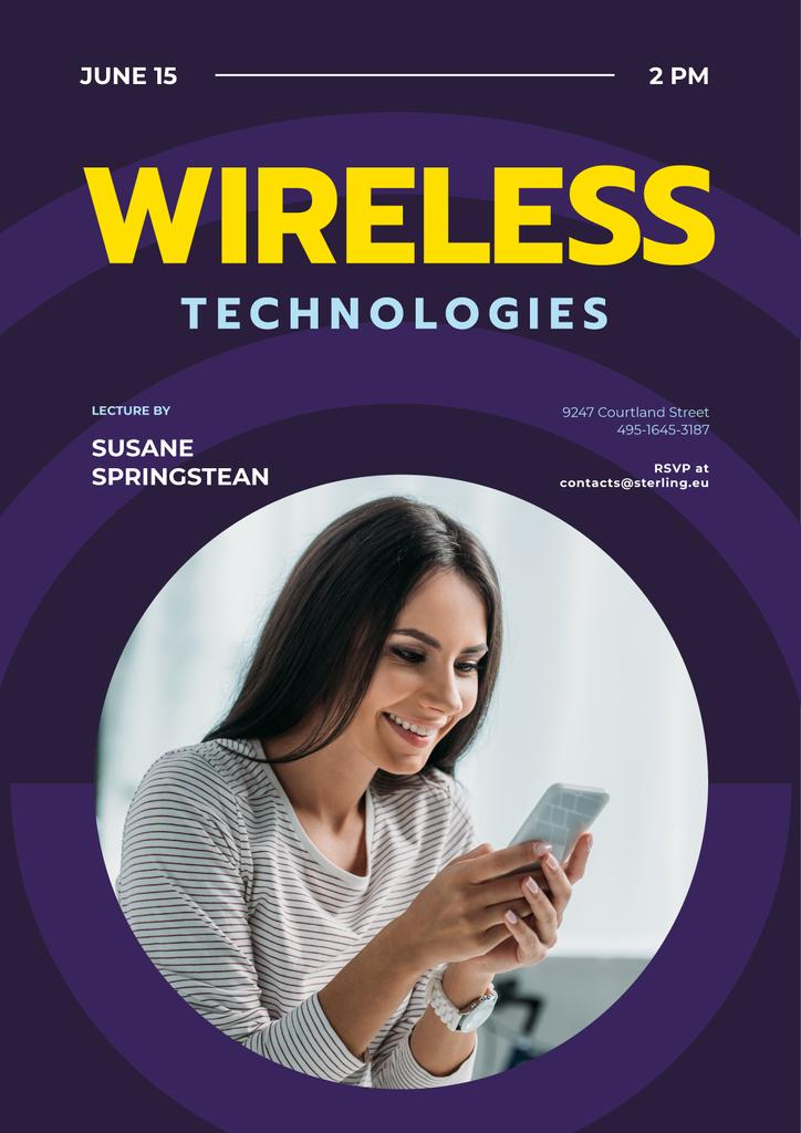 Modern Technology Review Woman Using Smartphone — Maak een ontwerp
