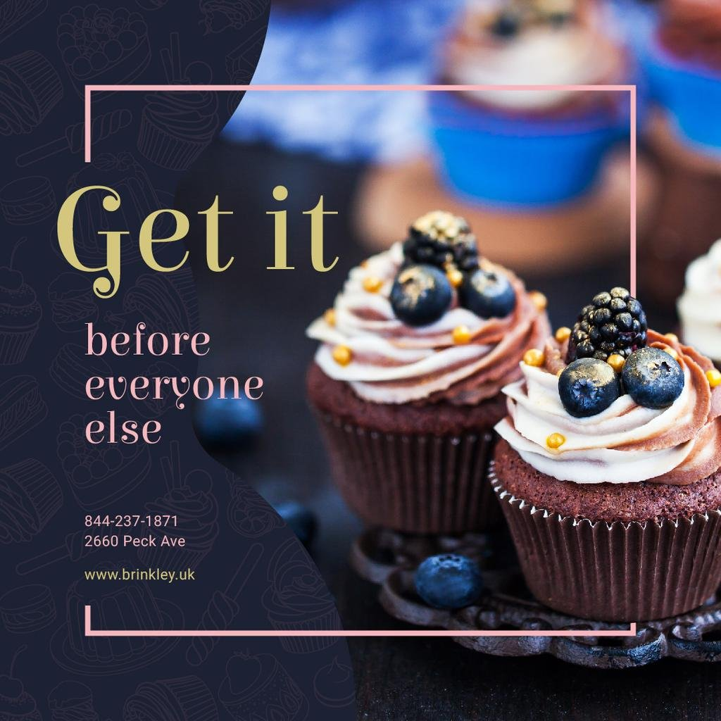 Delicious cupcakes for Bakery promotion — Crea un design