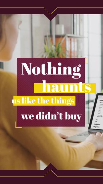 Consumerism Quote Woman Shopping Online Instagram Video Story Modelo de Design