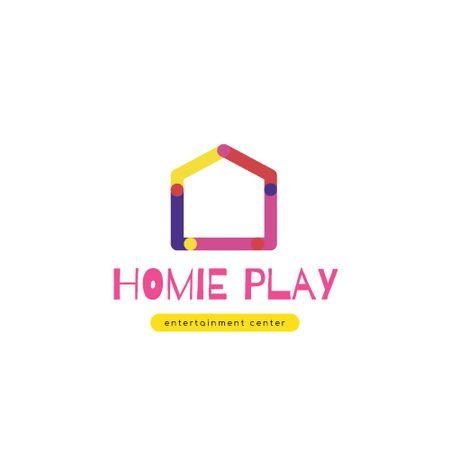 Entertainment Center with Colorful House Silhouette Animated Logo Modelo de Design