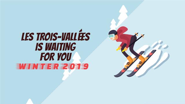 Mountain Resort Ad Skier on a Snowy Slope Full HD video – шаблон для дизайну