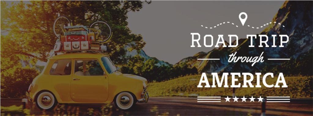 Road trip trough America with old car — Modelo de projeto