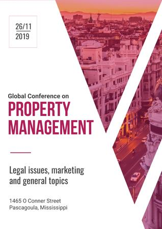 Property Management Conference Invitation with City View Poster Modelo de Design