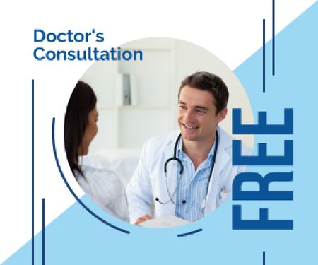 Consultation Offer Doctor Talking to Patient Medium Rectangle Modelo de Design