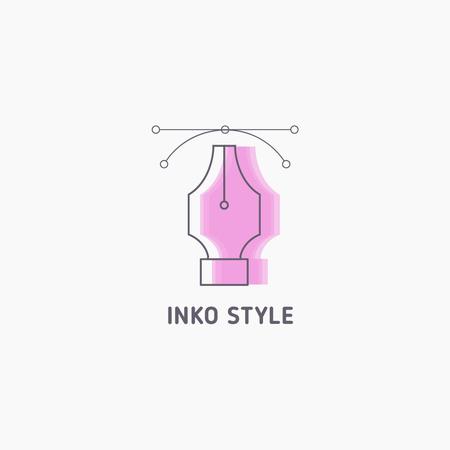 Pen Tool Icon in Pink Logo Tasarım Şablonu