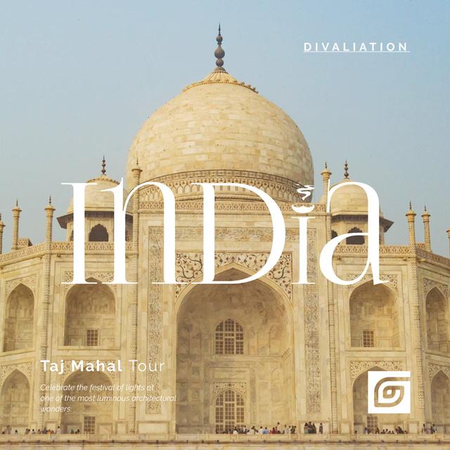 Designvorlage Travelling Tour Ad with Taj Mahal Building für Animated Post