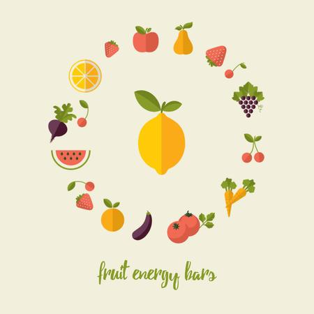 Circle frame of rotating fruits and vegetables Animated Post Design Template