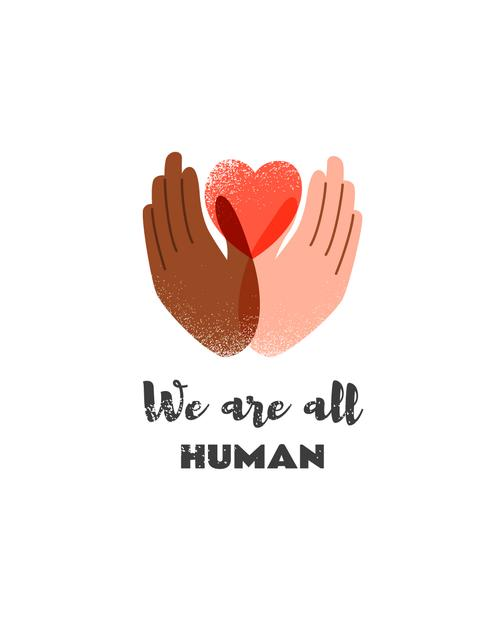 Diversity concept with Hands holding Heart T-Shirt Design Template
