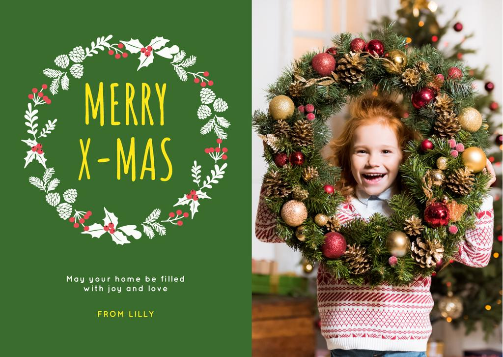 Christmas Greeting Little Girl with Decorated Wreath — Create a Design