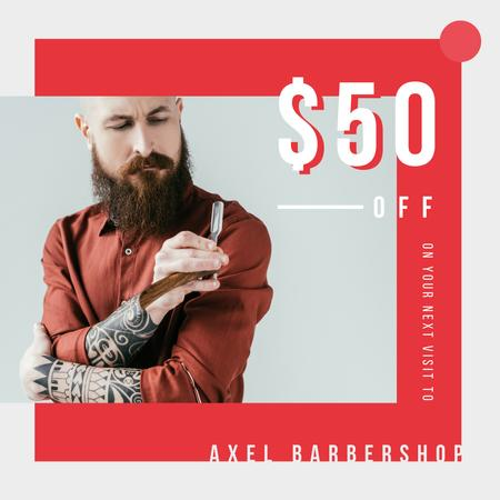 Plantilla de diseño de Barbershop Offer Bearded Barber holding razor Instagram AD