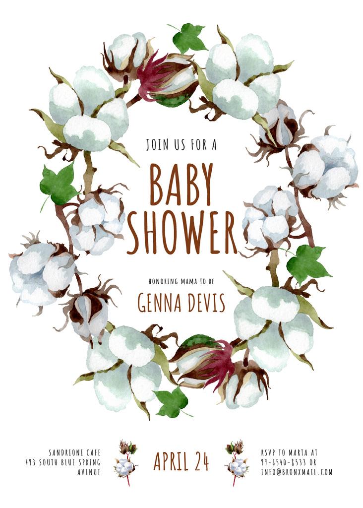 Modèle de visuel Baby Shower Invitation Cotton Flowers Wreath - Invitation