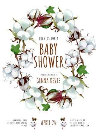 Designvorlage Baby Shower Invitation Cotton Flowers Wreath für Invitation