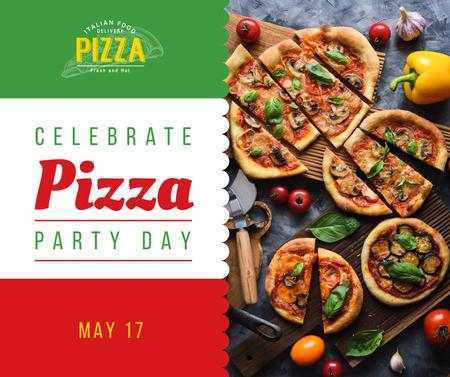 Pizza Party Day tasty slices Facebook Tasarım Şablonu