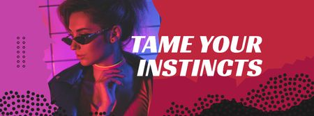 Ontwerpsjabloon van Facebook cover van Stylish Woman posing in sunglasses and neon lights