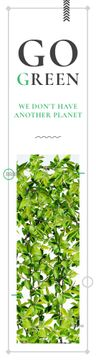 Ecological Event Announcement Green Leaves Frame | Wide Skyscraper Template