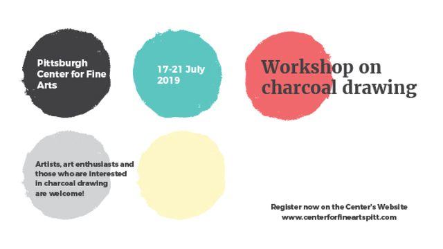 Plantilla de diseño de Charcoal Drawing Workshop colorful spots Title