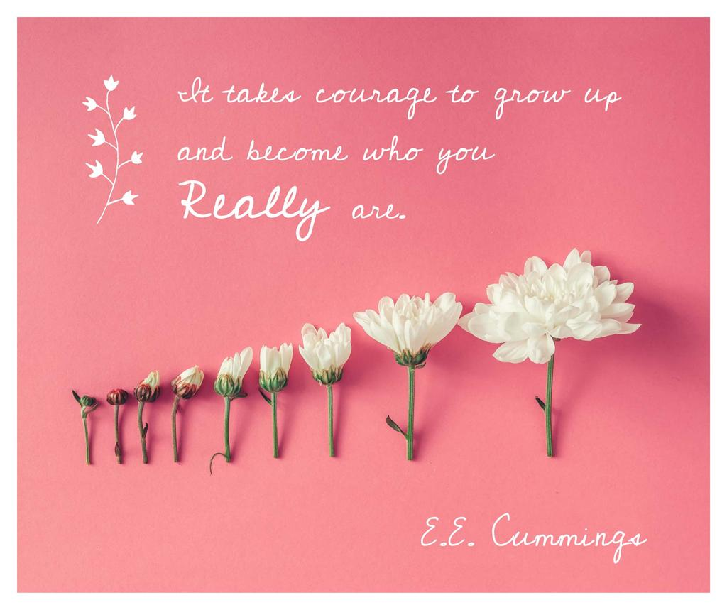 Inspirational Quote with White Chrysanthemums on Pink — Créer un visuel