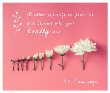 Inspirational Quote with White Chrysanthemums on Pink