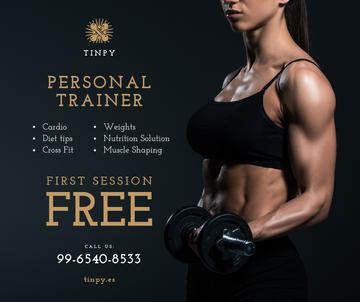 Gym offer Woman Training with Dumbbells