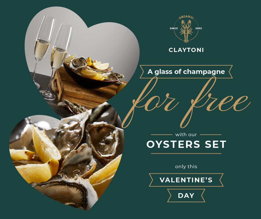 Valentine's Day Restaurant Offer with Oysters — Modelo de projeto