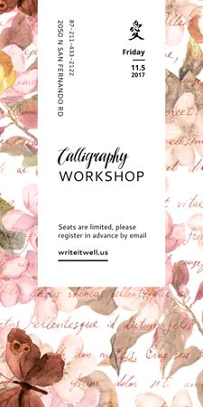 Plantilla de diseño de Calligraphy Workshop Announcement Watercolor Flowers Graphic
