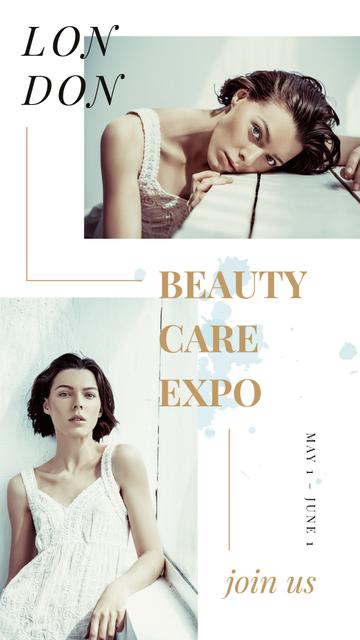 Beautycare Expo Annoucement with Young girl without makeup Instagram Storyデザインテンプレート