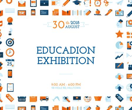 Education Exhibition Bright Sciences Icons Facebook Design Template