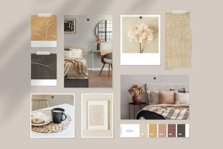 Cozy interior in natural colors Mood Boardデザインテンプレート