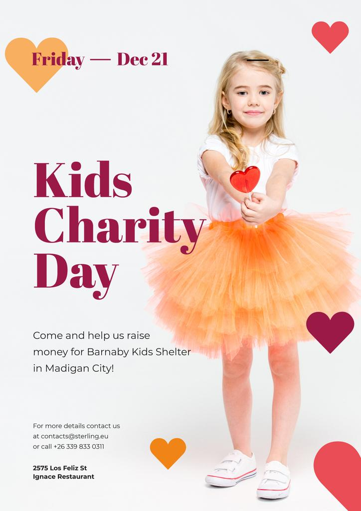 Kids Charity Day with Girl with Heart Candy — Maak een ontwerp