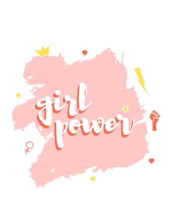 Ontwerpsjabloon van T-Shirt van Girl Power inscription