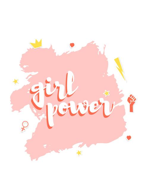 Template di design Girl Power inscription T-Shirt