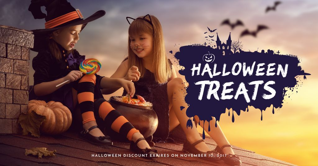 Halloween with Children in Costumes —デザインを作成する