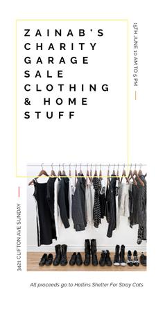 Szablon projektu Charity Sale announcement Black Clothes on Hangers Graphic