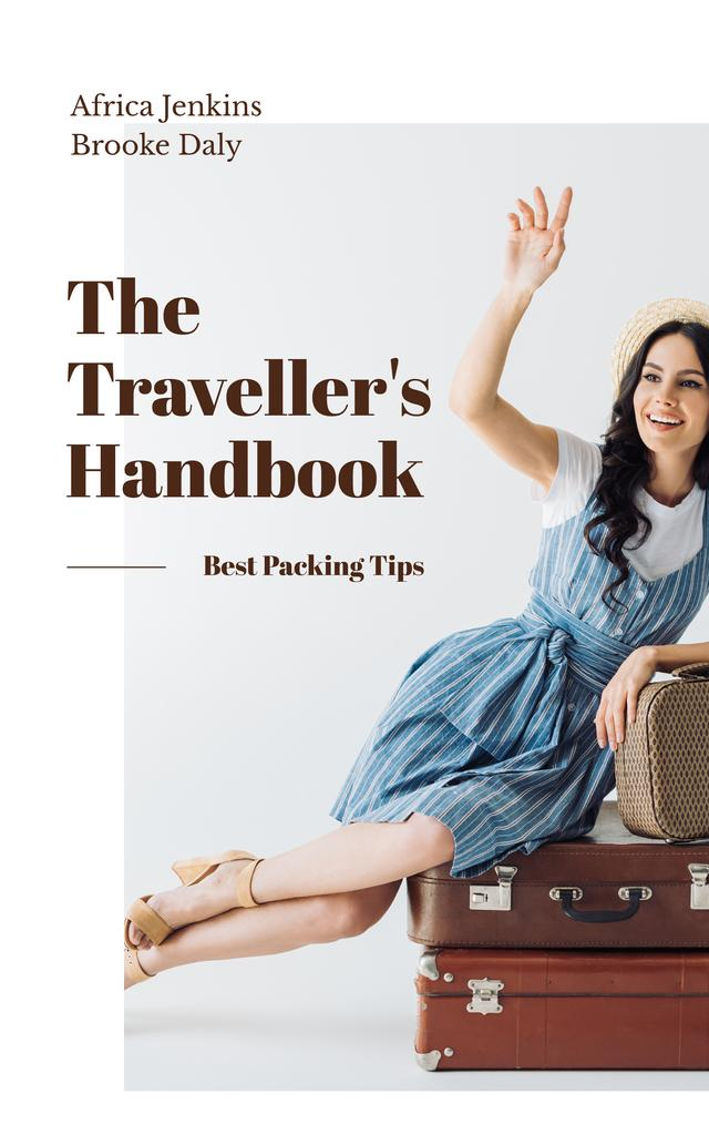 Smiling Travelling Girl with Vintage Suitcases Book Cover – шаблон для дизайна