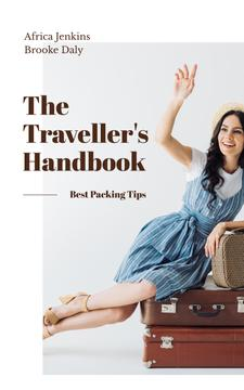 Smiling Travelling Girl with Vintage Suitcases