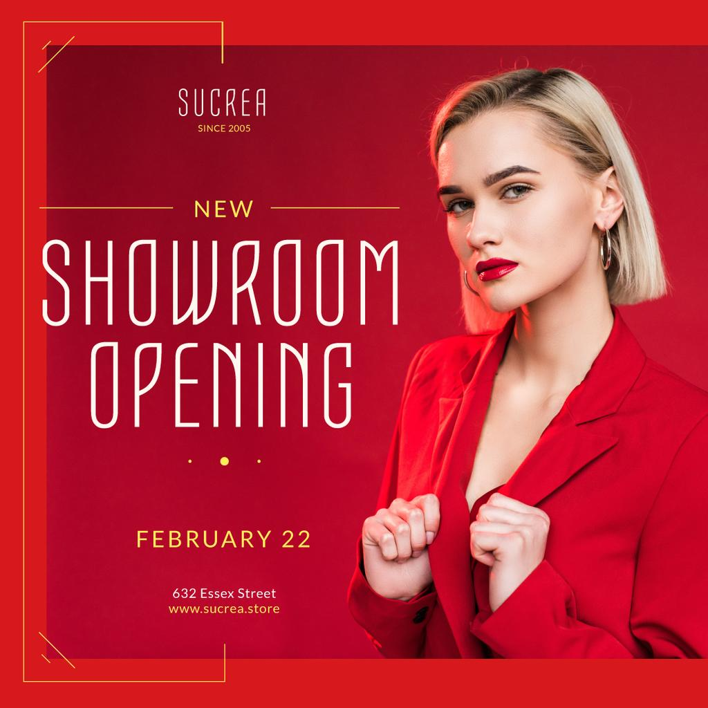Showroom Opening Announcement Woman in Red Suit — Створити дизайн