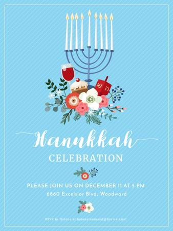 Plantilla de diseño de Hanukkah Celebration Invitation Menorah on Blue Poster US