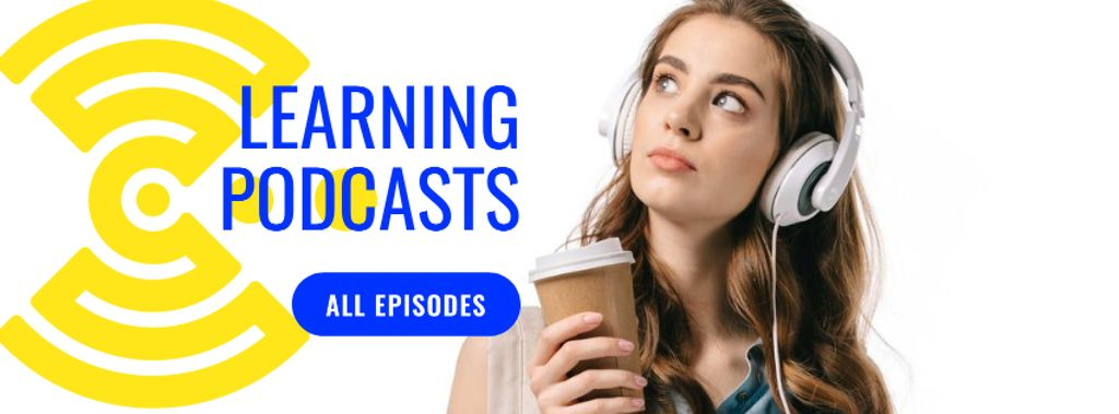 Education Podcast Ad Woman in Headphones — Maak een ontwerp
