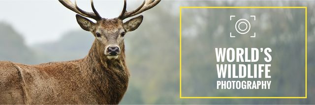 Template di design World's wildlife photography Ad with Deer Email header