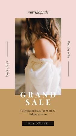 Sale Ad Young attractive woman Instagram Story Design Template