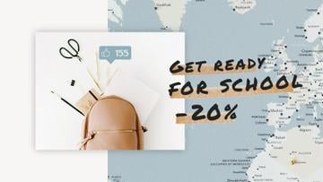 Back to School Sale Stationery in Backpack over Map | Full HD Video Template
