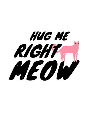 Cute Quote with Pink Cat T-Shirt Design Template
