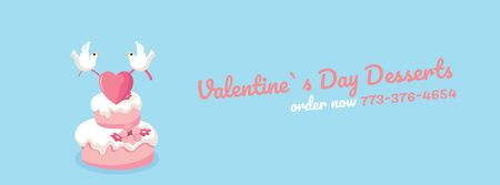 Doves Putting Heart on Valentines Day Cake Facebook Video cover Tasarım Şablonu