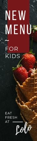 Kids Menu Promotion Strawberries in Waffle Cone Skyscraper – шаблон для дизайну