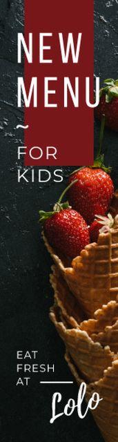 Designvorlage Kids Menu Promotion Strawberries in Waffle Cone für Skyscraper